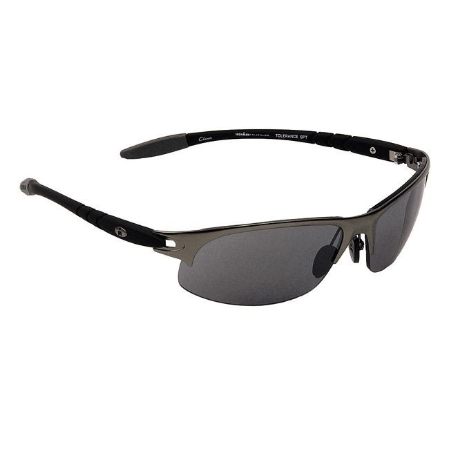 These semi-rimless sunglasses from Ironman features a sporty wrap design with black rubber temples and gunmetal temple accents. The 'Tolerance' sport sunglasses are finished with smoke-colored polariz