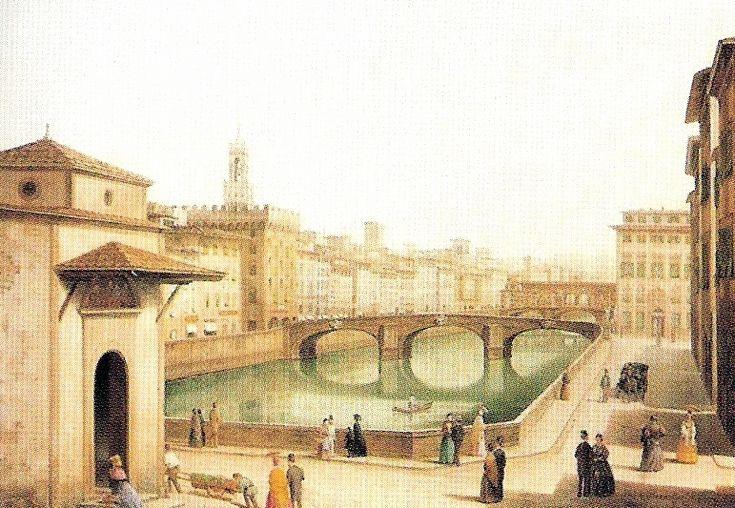 """""""Ponte alla Carraia"""" Fabio Borbottoni (1820–1902)  Cassa di Risparmio di Firenze Collection"""