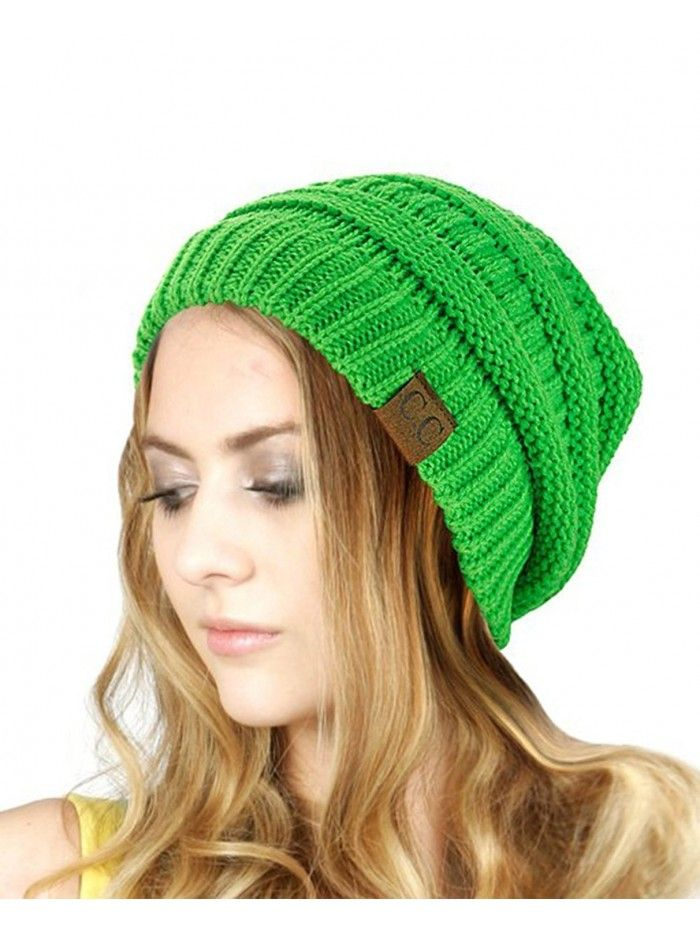 97db3491ad3cef Hats & Caps, Men's Hats & Caps, Skullies & Beanies,Trendy Warm Chunky Soft  Stretch Cable Knit Slouchy Beanie Skully HAT20A (Lime Green) - CW128EW87BL  ...