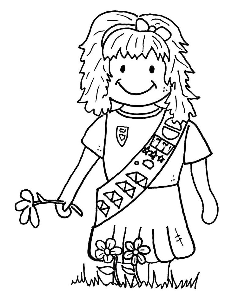 Girl Scout Brownie Coloring Pages   Girl Scout Day Cartoon Coloring Pages