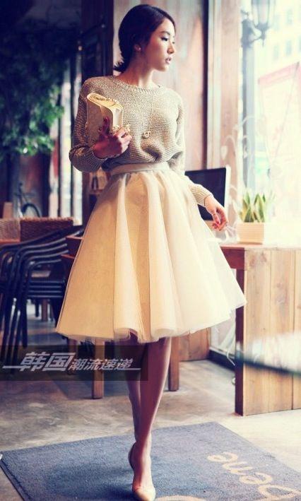 Off-White Layer Full Tulle Ballerina Skirt