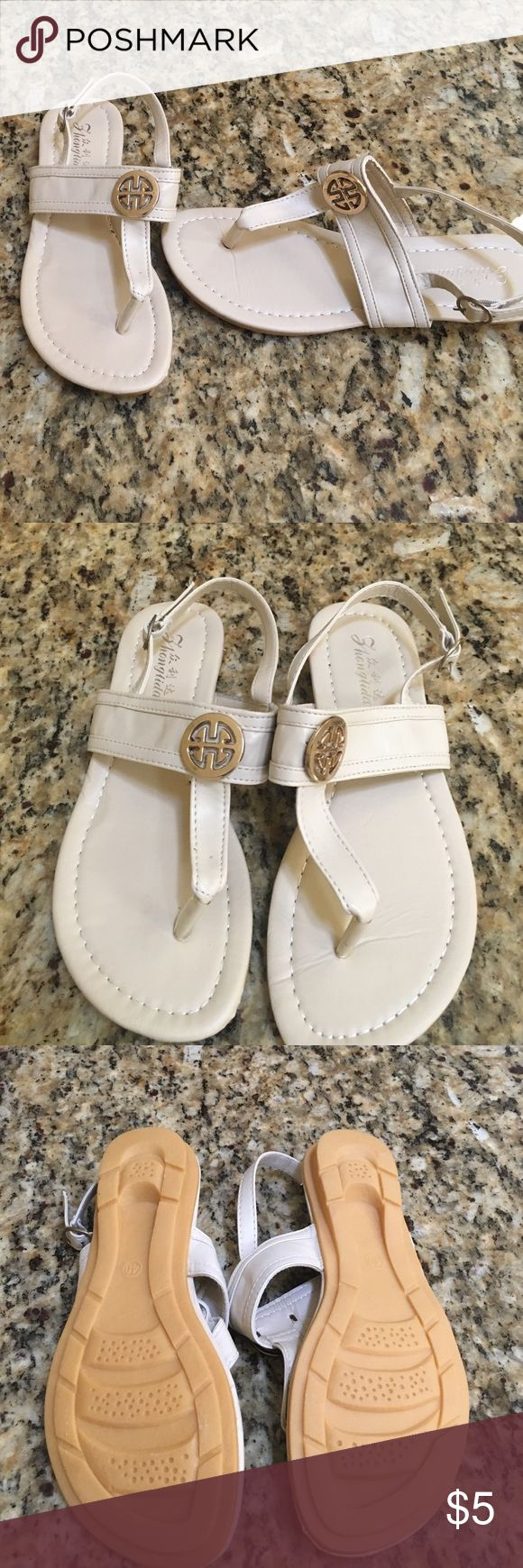 Cream sandals, brand new without tag, Size 7 No name brand. Made in China. Size 7 pleather material. Cream color Shoes Sandals