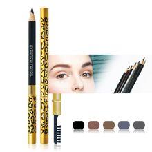 Novas Mulheres Waterproof Lápis de Sobrancelhas Com Escova Make Up Leopard maquiagem 5 Cores Sombra Para Sobrancelha Barato alishoppbrasil