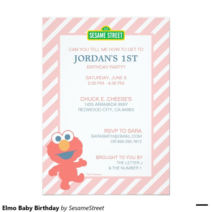 213 best girls birthday party invitations images on pinterest elmo baby birthday 5x7 paper invitation card stopboris Choice Image