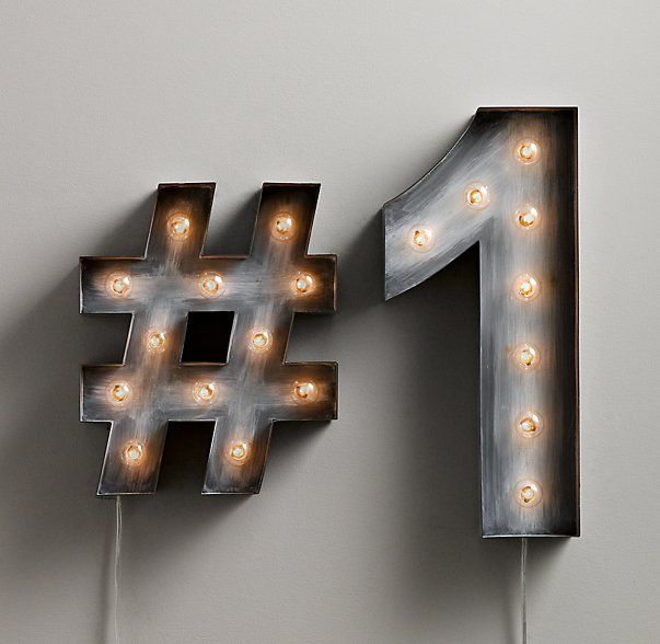 RH baby&child's Vintage Illuminated Marquee Number:Made of steel, our illuminated numbers are cleverly constructed to make a special date or phrase shine bright.