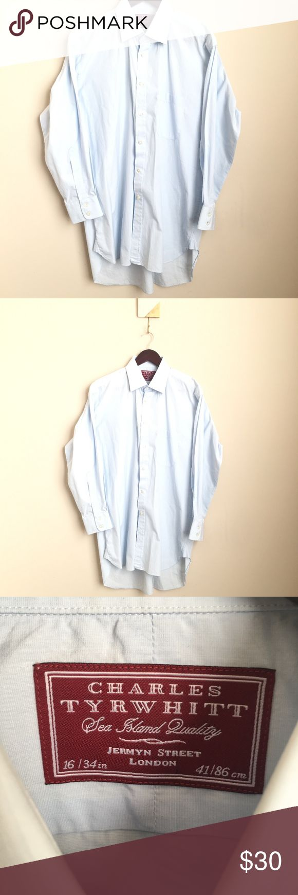 "Charles Tyrwhitt Sea Island Jermyn Dress Shirt Charles Tyrwhitt Sea Island Quality Jermyn Street London solid light blue mens dress shirt  Size 16/34in   Great condition  Pocket on the chest  Measurements taken while laying flat: 25"" Armpit to armpit 32"" Length 24"" Waist Charles Tyrwhitt Shirts Dress Shirts"