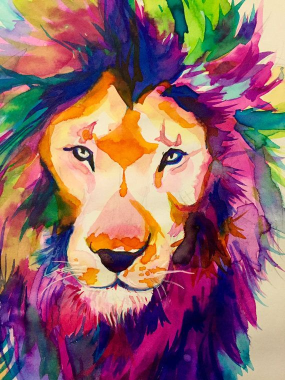 Colorful Lion in watercolor / Home nature decoration design / Home #lion #gift #nature #room #colorExplosion Gift idea / Customize Art