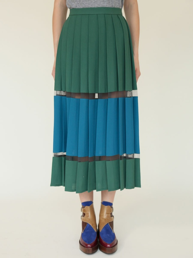 Tata-Naka Blue & Green pleated skirt. I like the see-thru mesh in between.