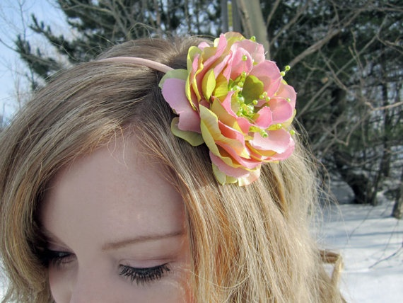 bloomer Floral Headband in Pink and Lime Green by SHOWYOURbloomers, $20.00