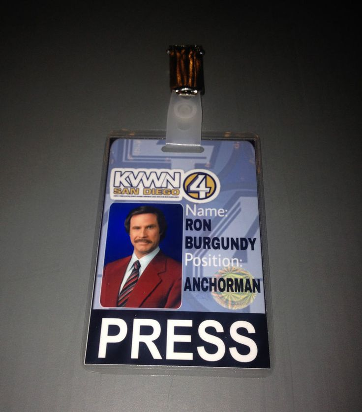 RON BURGUNDY ANCHORMAN COSTUME CHANNEL 4 NEWS PRESS PASSES COSPLAY
