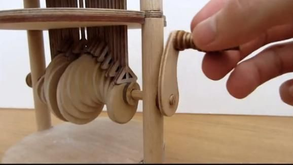 Wooden automation of a water drop.