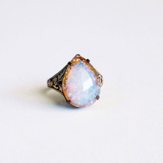 Harlequin Fire Opal Ring Vintage Glass Pear Opal Cabochon Victorian Jewelry