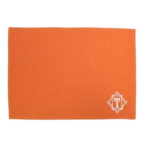 Monogrammed placemat with one initial. Nice touch