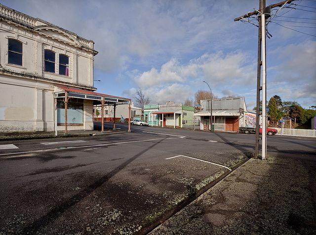 Eltham NZ mossy footpath, boarded shops, howitzer | Flickr - Photo Sharing!