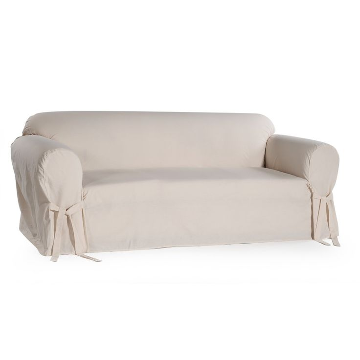Classic Slip Covers 1 Piece Cotton Sofa Slipcover With