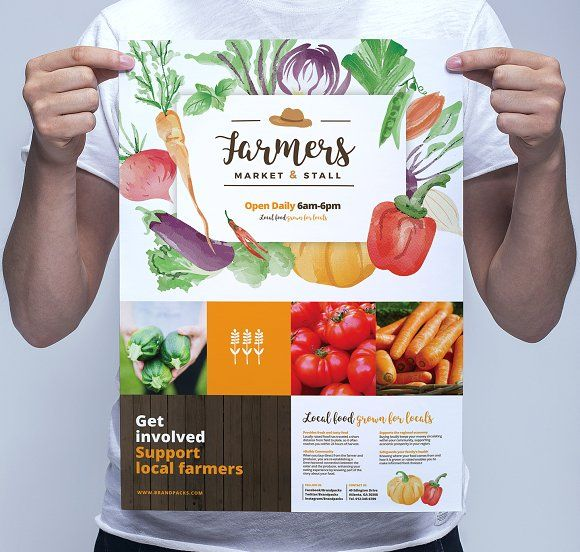 Farmers Market Poster Template by BrandPacks on @creativemarket