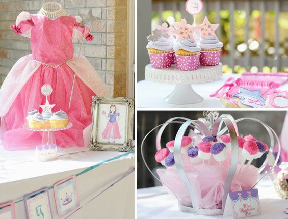 Princess Birthday Party Theme (bottom right photo diy? Other food instead of marshmallows)