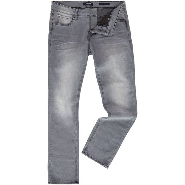 Guess Slim Fit Grey Wash Jeans (£42) ❤ liked on Polyvore featuring men's fashion, men's clothing, men's jeans, men jeans, guess mens jeans, mens low rise jeans, mens slim fit jeans, mens slim cut jeans and mens low rise slim fit bootcut jeans