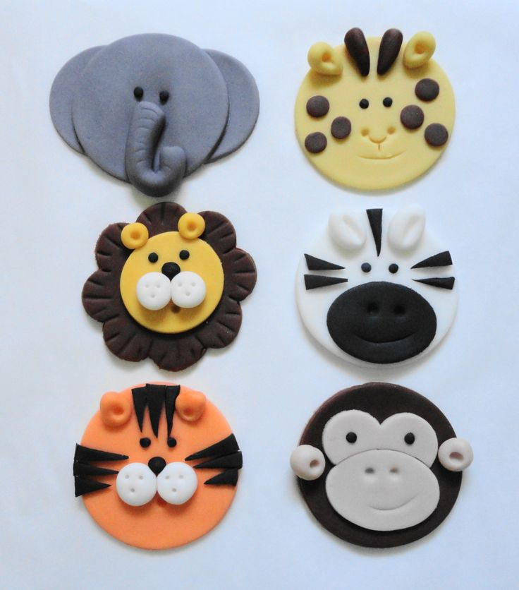 zoo cupcakes | Zoo Animals Fondant Cupcake Toppers Pic #18