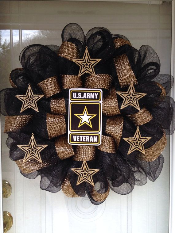 US Army Veteran Deco Mesh Ribbon Wreath on Etsy, $40.00