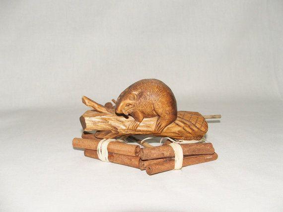 Wooden Beaver figurine. Brown water river wildlife by Fabvintage1, £9.99