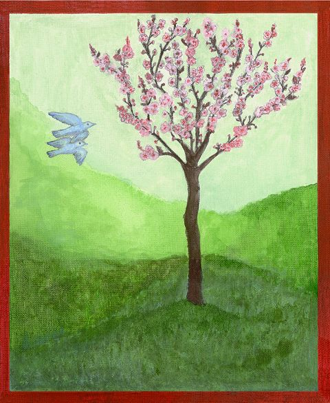 Finding Love Displaying this print will encourage love into your life. Two birds flying together toward a plum blossom tree will bring auspicious energy. Hang this print in the South-west of your bedroom or of the house for attracting and experiencing an equal loving relationship.