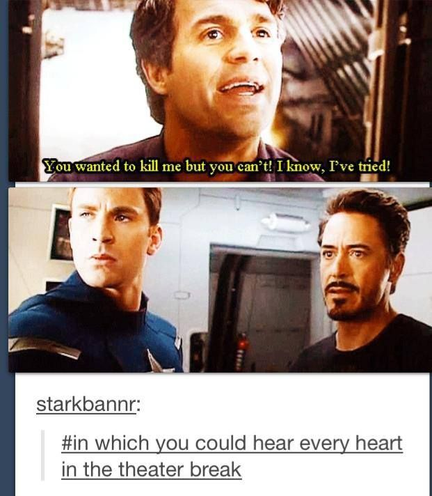 I think I liked Tony and Steve's expressions better....they all just got silent when Bruce said that....