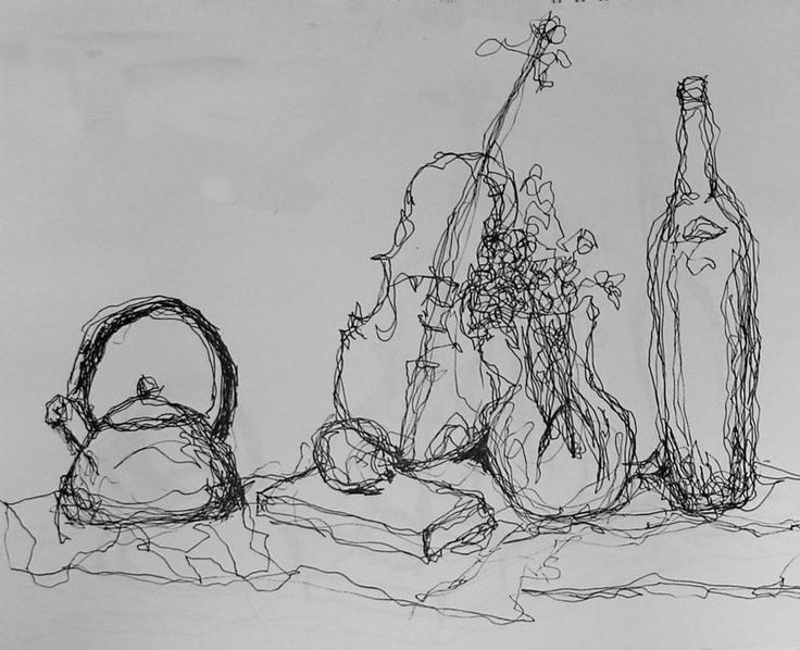 continuous line drawing artists still life - Google Search