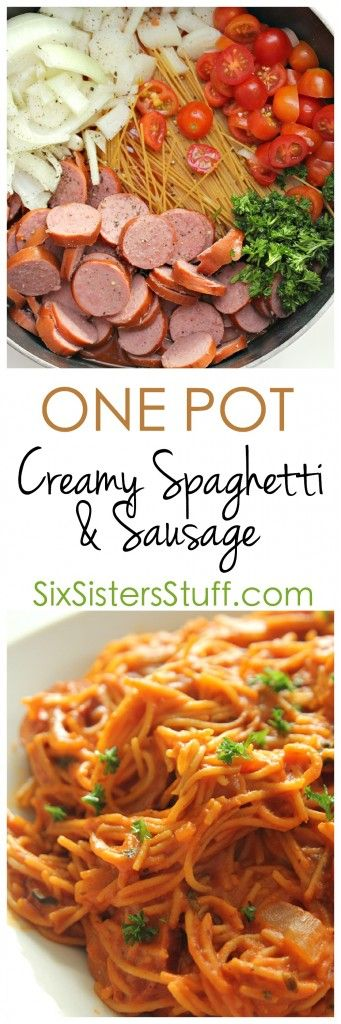 One Pot Creamy Spaghetti and Sausage Skillet. The best part is that you throw it all in one pan (including uncooked pasta) and let it all cook together! It literally makes cooking and clean up a breeze.  From SixSistersStuff