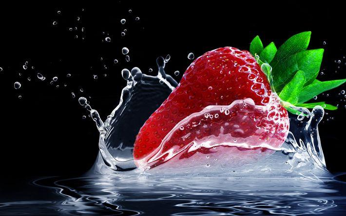 Download wallpapers strawberry, water, splash, close-up, berries