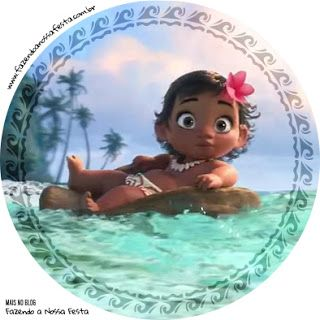 Moana Baby Cupcakes: Free Printable Wrappers and Toppers.