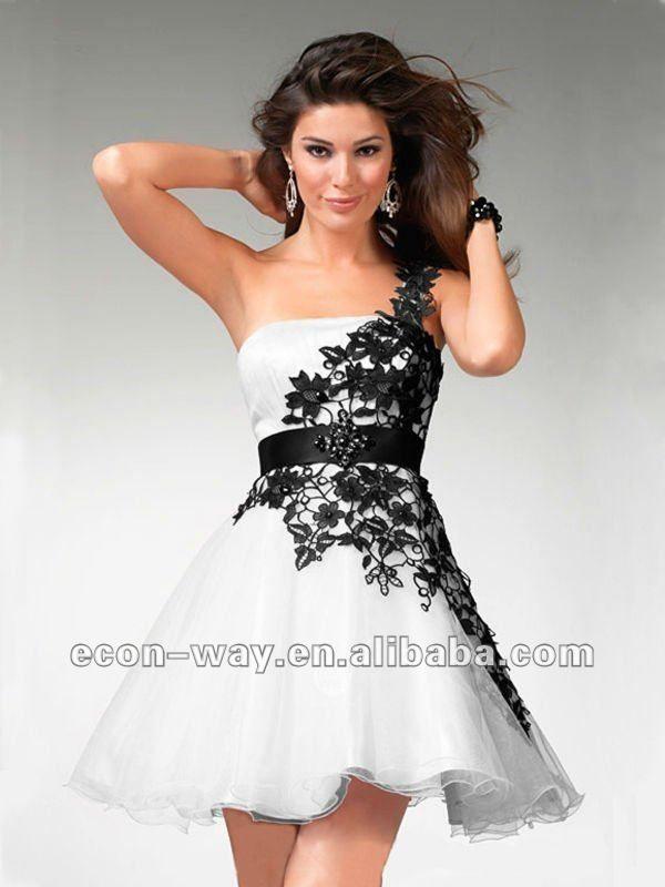 hacer que la costumbre de organza de color blanco y negro corto vestido de fiesta--Identificación del producto:648065403-spanish.alibaba.com