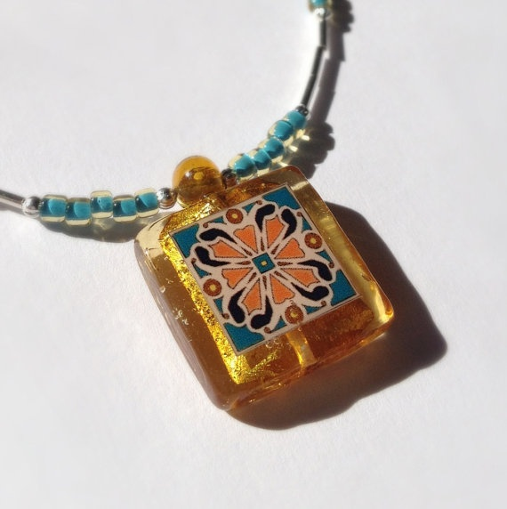Spanish Tile Necklace Turquoise and Amber Handmade by MeTile Design, Catalina Tile, Tile Necklaces, Spanish Tile