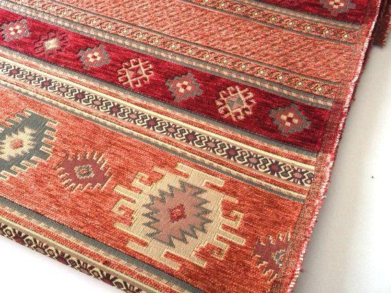 Ethnic Tribal Style Chenille Upholstery Fabric, Velvet Fabric, Aztec Navajo Geometric Kilim Fabric, Terracotta Fabric, Half Yard/Meter