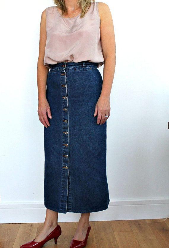 Vintage Maxi Denim skirt Front Buttons Thick Soft Denim
