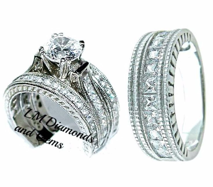 14K White Gold Sterling Silver His Hers 4 pc Wedding Set Rnd Diamond Bridal Ring #notapplicable