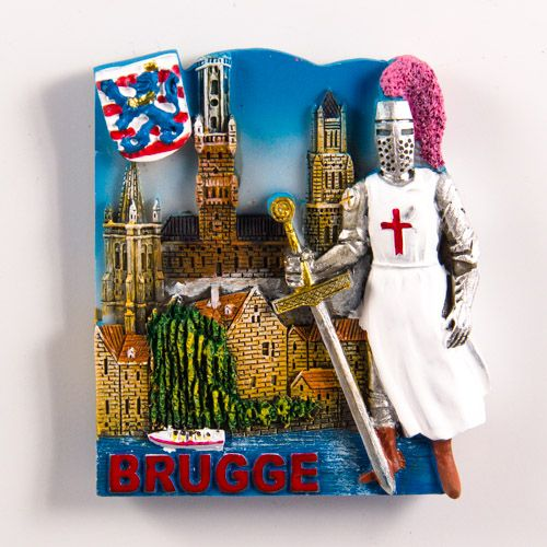 Resin Fridge Magnet: Belgium. Bruges Attractions