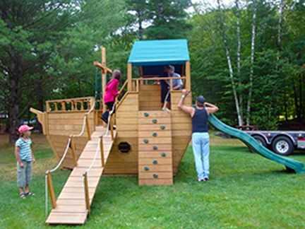 playhouse swing set plans | View Source | More Pirate Ship Playground Slide Swings And Sand Box ...
