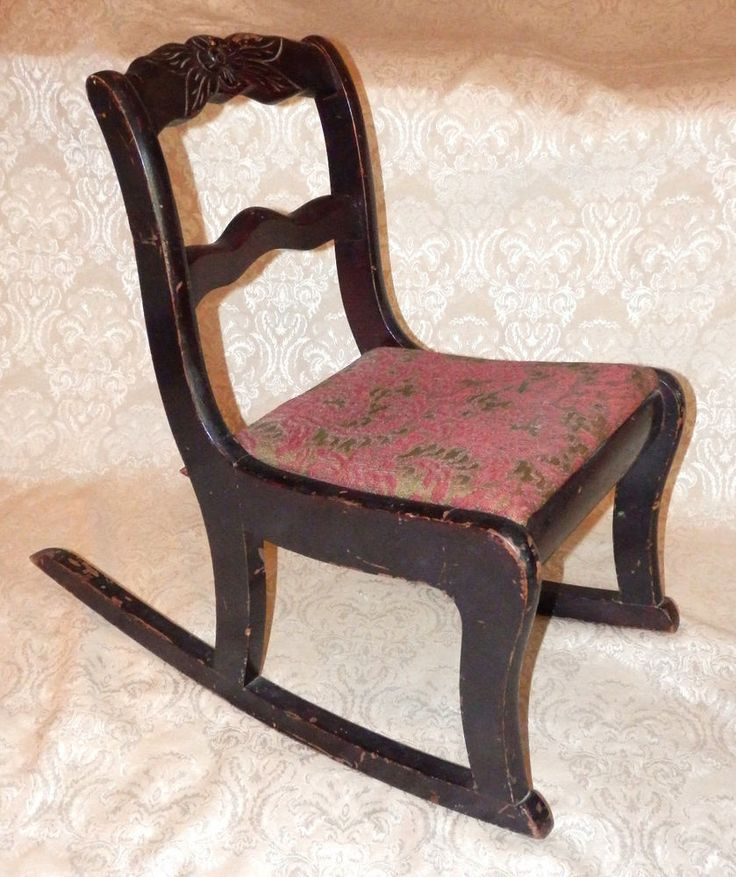 Vintage TELL CITY Mahogany Duncan Phyfe Carved Rose CHILDS ROCKER Rocking  Chair