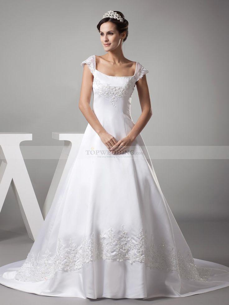 winter wonderland wedding south africa%0A Cap Sleeved Princess Cut Beaded Satin Wedding Gown