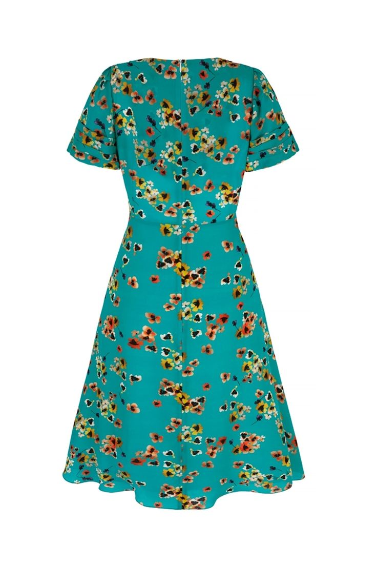Vintage 30s Style Tea Dress in Pansy Ocean Print Back View (click to view larger image)