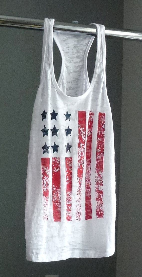 1f4aa9af90d460 American Flag Tank Top. Patriotic Shirt. Exercise Tank. 4th of