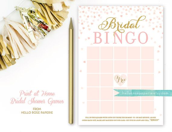 Bridal Shower Bingo Game . Blush Pink and Gold by hellorosepaperie