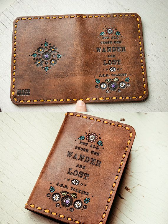 Leather Passport Cover Floral Design Wallet by MesaDreams