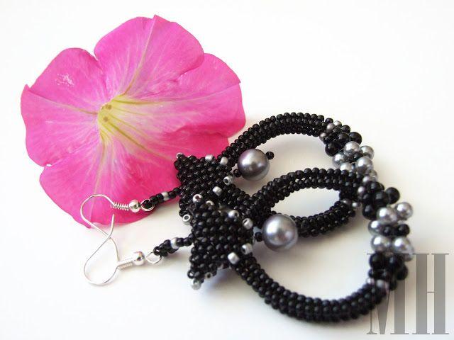Czarne kolczyki łezki | MH Biżuteria - cuda ręcznie wykonane