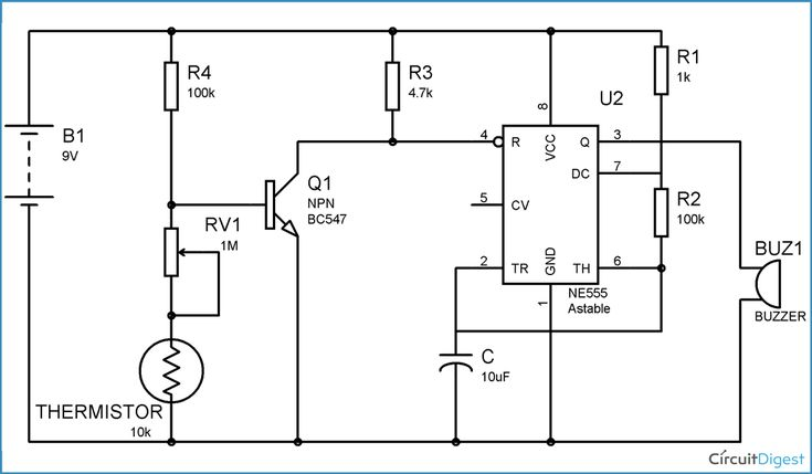 fire alarm circuit diagram using thermistor
