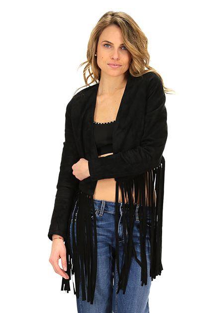 Vintage De Luxe - Giacche - Abbigliamento - Giacca in camoscio con frange sul fondo. Foderata.La nostra modella indossa la taglia /EU 40. - NERO - € 498.00