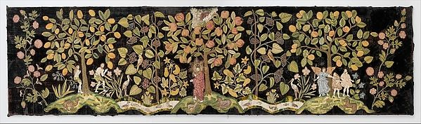 This panel was one of a set of three valances probably used to decorate the tester of a bed. Small elements—fruits, flowers, and leaves—were worked in tent stitch on canvas and then applied to the dark velvet foundation on which was worked the river in the Garden of Eden, the figures of Adam and Eve, and God the Father, in polychrome silk and metal threads