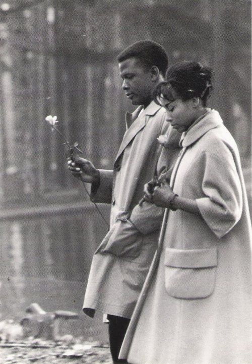 Sidney Poitier and Diahann Carroll at Bois de Boulogne in Paris, 1961.