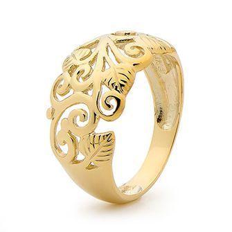 Gold Ring - Domed - Grape Vine - BEE-42200